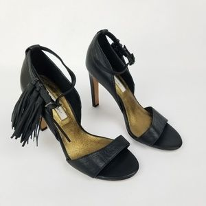 Cynthia Vincent Leather Tassel Heels Ankle Strap